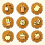 set tea and sweets round icons - stock illustration