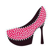 Women's high-heeled pink shoes decorated with studs Stock Illustration