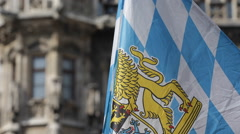 Bavarian Civil Flag German City Munich Marienplatz New Town Hall Front Facade - stock footage