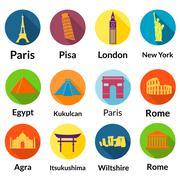 world landmarks - stock illustration