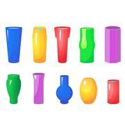Colorful flowers vases vector set Stock Illustration