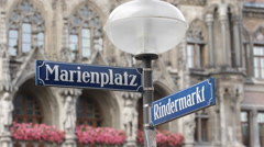 Marienplatz Street Sign Closeup Rindermarkt Famous Popular Square Munich City Stock Footage