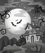 Black and white haunted house - illustration. Piirros