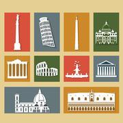 Landmarks of italy set Stock Illustration
