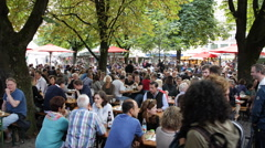 Viktualienmarkt Munich Oktoberfest October Fest Happy Crowd People Celebration Stock Footage