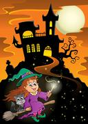 Haunted mansion halloween theme - illustration. Stock Illustration