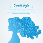 Vector illustration female profile with long hair and space for text Stock Illustration