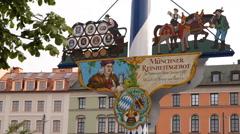 Closeup Bavarian Flag Maypole Viktualienmarkt Iconic Shopping Market Munich Day Stock Footage