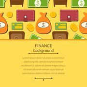finance background with objects in flat style and space for text - stock illustration