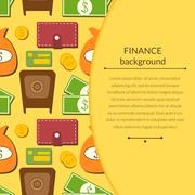 Finance background with objects in flat style and space for text Stock Illustration