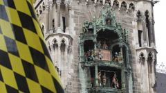 Munchen Flag Munich New Town Hall Famous German Icon Glockenspiel Chimes Bells Stock Footage