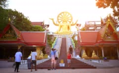 Koh Samui, Thailand. 18 July 2014. Buddha gold statue in sunset. 4K. 3840x2160 Stock Footage