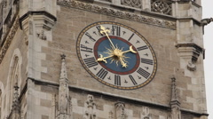 Iconic Marienplatz Munich German Gothic New Town Hall Clock Tower CloseUp Detail Stock Footage