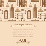 landmarks of united kingdom background - stock illustration