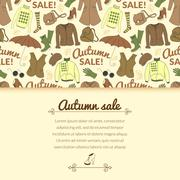 Stock Illustration of autumn sale background with season women clothes
