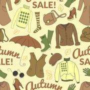Stock Illustration of autumn sale seamless pattern with season women clothes