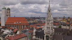 Aerial View Munich Frauenkirche Marienplatz Above Central City Germany Sunny Day Stock Footage