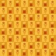 Beer mugs and hop seamless pattern Stock Illustration