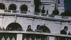 Paris 1971: visitors at Sacre Coeur Stock Footage