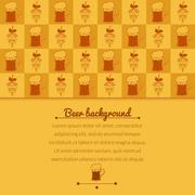 beer mugs and hop background - stock illustration
