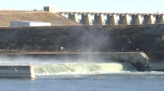 Land Use Missouri River Fall Dam Hydroelectric Water - stock footage
