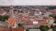 Munich Skyline Aerial View Panoramic Establishing Shot Residential Houses Roofs Stock Footage