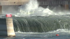 Land Use Missouri River Fall Dam Hydroelectric Water Stock Footage
