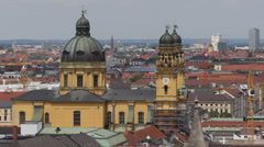 Munich Aerial View Establishing Shot Residential Houses Roof Theatinerkirche Day Stock Footage