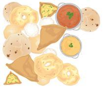 indian snacks - stock illustration