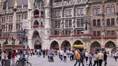 Mariensaule Marienplatz Munich Pedestrians Walk Sidewalk Crowd Crossing Square Stock Footage