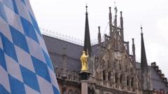 Bavarian Flag Mariensaule Marian Column Virgin Mary Marienplatz Munich Town Hall Stock Footage