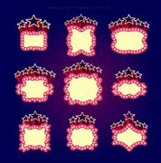 Retro illuminated movie marquee vector set - stock illustration