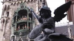 Famous Munich Landmark Glockenspiel New Town Hall Putto Killing Dragon Statue Stock Footage