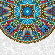 ornamental floral template with circle ethnic dish element, mand - stock illustration