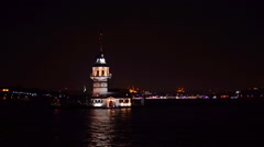 Maiden Tower at night Istanbul Stock Footage