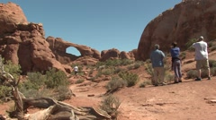 Recreation Arches National Park Spring People Sight-seeing Arches Desert - stock footage