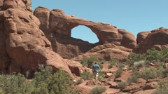 Desert Arches National Park Spring Hiking People Walking Stock Footage