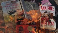 Pile of Books Burning Stock Footage