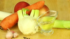 Ingredients for soup, veggies, carrot, onion, leek Stock Footage