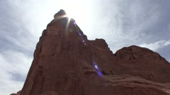 Desert Arches National Park Spring Sun Flare Stock Footage