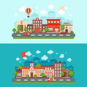 City scape set - stock illustration