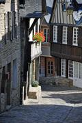 half-timbered building in the rue de jerzual, in dinan - stock photo