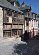 the medieval street of rue de jerzual in dinan, brittany, france - stock photo