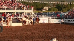 bareback riding in rodeo slow motion - stock footage