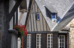 half-timbered building in the rue de jerzual, in dinan - stock photo