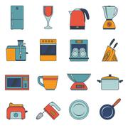 Kitchen appliances icons flat - stock illustration