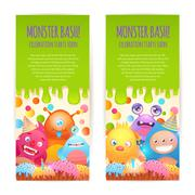 Monsters vertical banners Stock Illustration