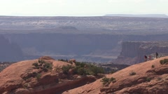 Desert Canyonlands National Park Spring People Hiking Stock Footage