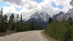 Mountain Grand Teton National Park Fall Driving Tracking - stock footage