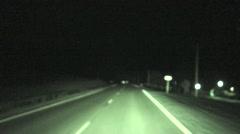 Mule Deer Summer Night Road Highway Spotlight Stock Footage